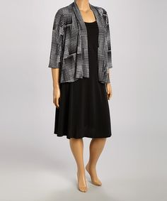 Loving this Black & White Abstract Dress & Jacket - Plus on #zulily! #zulilyfinds