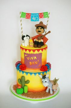 Check out these boys birthday cakes to get some inspiration from music to sports themed cakes. Mexican Themed Cakes, Mexican Fiesta Cake, Sports Themed Cakes, Mexican Party, Mexican Cakes, Easy Birthday Desserts, Mexican Birthday Parties, Birthday Cake For Him, Grandpa Birthday