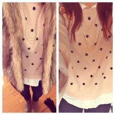 polka dots + pearls + fur | #OOTD winter wear