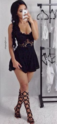 Black Romper @roressclothes closet ideas #women fashion outfit #clothing style apparel