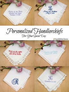 Personalized keepsakes to dry your tears of joy! Make your wedding extra special by getting your handkerchiefs personalized with a…