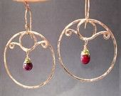 Hammered circles with ruby Nouveau 196