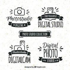 desenhadas mão logos estúdio retro foto Vetor grátis
