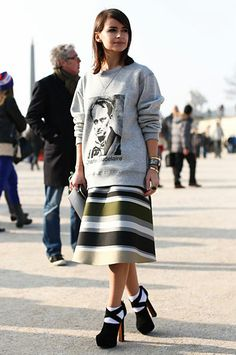 The Best Street Style at Paris Fashion Week: Jewel tones and statement jewels gave this trouser and top look a high-wattage twist. : Miroslava Duma perfected sportif-chic in a sweatshirt, flared skirt, and platforms outside the shows. Fashion Editor, Fashion Week, Girl Fashion, Fashion Looks, Fashion Trends, Paris Fashion, Winter Fashion, Street Style Chic, Cool Street Fashion