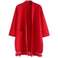 Chicwish Easy to Be Chic Tassel Trimmed Cardigan in Red ($62) ❤ liked on Polyvore featuring tops, cardigans, red, red top, open front cardigan, red cardigan, cardigan top and tassel top