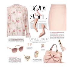 """""""Floral Blouse"""" by daiscat ❤ liked on Polyvore featuring River Island, Vilshenko, M. Gemi, Betsey Johnson, Beautycounter, Topshop, Vince Camuto, Kate Spade and Metal Pressions"""