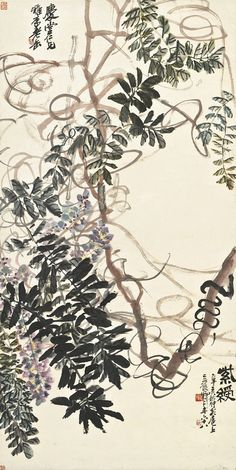 Wu Changshuo (1844-1927) CRAPE MYRTLE signed WU JUNQING, dated 1911, and titled. Signed again, with a dedication, and a total of five seals of the artist ink and colour on paper, hanging scroll 109.8 by 54.3 cm. 43 ¼ by 21 3/8 in.  吳昌碩 (1844-1927) 吳昌碩 紫綬 設色紙本 立軸 一九一一年作  款識: 紫綬。 辛亥秋仲客扈上。吳俊卿年六十八。 慶堂仁兄雅屬。老缶。  鈐印:「昌碩」、「吳俊之印」、「吳昌石」、「吳俊」、「老缶」。 109.8 by 54.3 cm. 43 ¼ by 21 3/8 in.