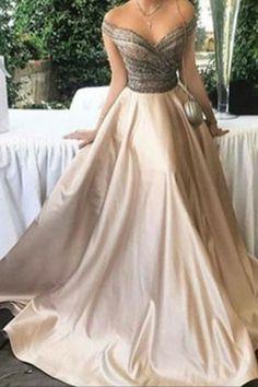 Elegant ivory satins off-shoulder A-line long prom dresses,evening dresses sold by Kitty Dress