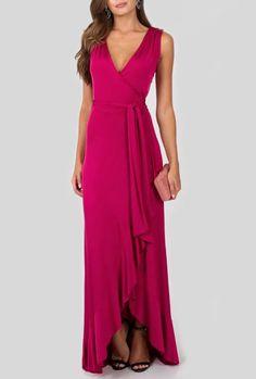 VESTIDO ROUGE POWERLOOK - Vestido longo traspassado em malha fria com modelagem mullet. Ideal para eventos de dia e de noite. Stylish Clothes For Women, Stylish Outfits, Beautiful Dresses, Nice Dresses, Formal Dresses, Discount Prom Dresses, Cocktail Outfit, Dance Outfits, Pink Dress