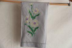 Vintage spring pastel linen tea guest towel by FrugalFairyVintage