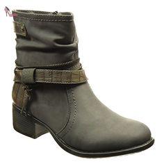 Angkorly - Chaussure Mode Bottine souple montante femme fermeture zip boucle peau de serpent Talon haut bloc 4 CM - Gris - DH939 T 41 - Chaussures angkorly (*Partner-Link)