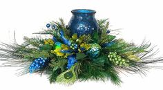 Peacock Poinsettia Centerpiece Christmas by cabincovecreations