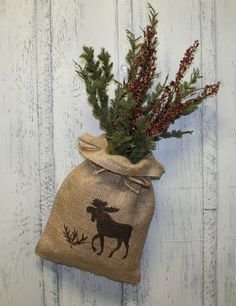 Moose Burlap Bag -  Burlap Flower Arrangement - Wall Decor - Rustic Decor