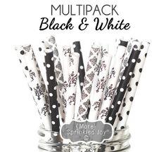 Pailles noir et blanc, pailles de papier, dentelle noire thème, Damas, filigrane, Baby Shower, douche nuptiale, mariage, Dots, Vintage, 25 pailles