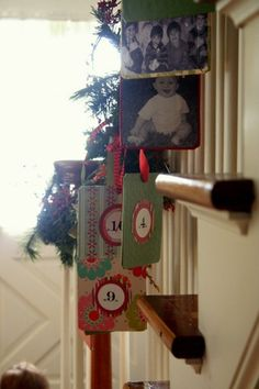 Ornaments/Decorations from your annual Christmas picture - she adds numbers on back documenting the years of marriage.  A fun visual timeline.