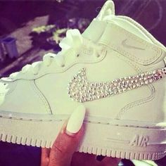competitive price de91b dce6f shoes white nike airforce diamond swoosh sneakers nike white sparkles  glitter cute high top sneaker classic