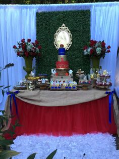 Beautiful dessert table at a Snow White birthday party! See more party ideas at CatchMyParty.com!