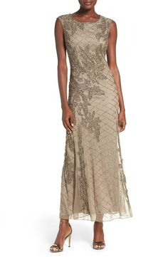 Pisarro Nights Beaded Mesh Gown (Regular
