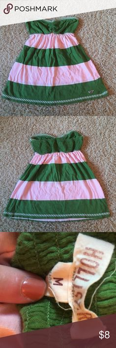 Strapless Hollister top Pink and green stripes Hollister top. Elastic at the top for tightness in great condition!!! Tops