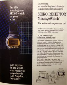 """AppleWatch > Pre-History ; ) early """"SmartWatch"""" ••1990 Seiko Receptor•• 1st SM w/ WIRELESS messaging pager $35/mth but $12.50 2nd yr/mth • prior to 2013 new wave: Samsung Galaxy Gear S/Moto 360/Pebble Steel etc that practically failed due to rushing out thks to iWatch rumors and wanting to be 1st, not best, whose industry might finally be launched viably by AppleWatch since event """"9.9.2014 Wish we could say more"""" as w/ SmartPhone iPhone in 2007-06-29 • via DigitalWatchLibrary"""