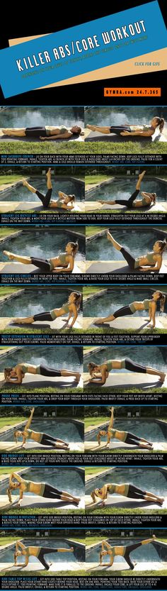 Fat Burning Ab Exercises. Burn fat and slim down while toning up your abs and strengthening your core. Repeat the circuit once or twice more. Click the image to see the moves in GIF form. #fitness #abs #exercise #workout #weightloss #health
