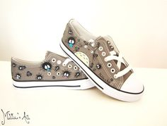 Peint à la main de Ghibli Studio série chaussures / chaussures de Totoro - Low haut