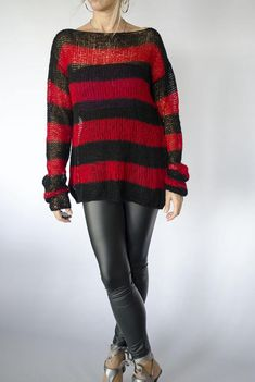 Red and Black Mohair Sweater Unisex Knit Top Striped Jumper