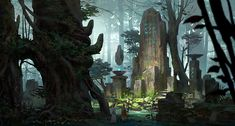 ruins in forest, Lee b on ArtStation at https://www.artstation.com/artwork/ruins-in-forest