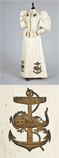 Yachting ensemble, probably Redfern, c. 1890, the sleeves altered c. 1895, of warm cream felted wool, the bodice and skirt embroidered in high relief with anchors and mythical sea creatures, the beasts with sequined bodies, glass eyes and purl wire webbed feet, the bodice with stand collar and military-style gold bauble fastenings, tabbed peplum to the low pointed waist, the massive upper sleeves of cream silk grosgrain. Kerry Taylor Auctions/Artfact. Via ornamentedbeing.tumblr.com. Sailor Outfits, Sailor Dress, Military Style, Military Fashion, Felted Wool, Wool Felt, Mythical Sea Creatures, Cold Brew Coffee Maker, Expensive Gifts