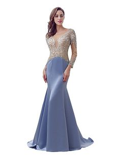 Mermaid / Trumpet Illusion Neckline Sweep / Brush Train Satin Formal Evening Dress with Beading by Sarahbridal