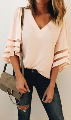 I'd wear this top to work with black skinny pants - the cleavage makes… - #diy
