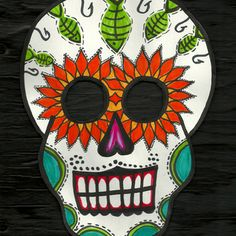 Day of the dead mask, neat idea for an art class project. Culture and creativity :)