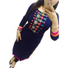 Maxthon Fashion Women Black Cotton Semi Stich Kurtis (New Kurti Kurta Kurtis Online India, Designer Kurtis Online, Girls Kurti, Designer Anarkali Dresses, Fashion Outfits, Womens Fashion, Latest Fashion, Wearing Black, Indian Outfits