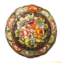 Vintage micro mosaic | Amazing VIntage Italian Micro Mosaic Disc Brass by vintagedame