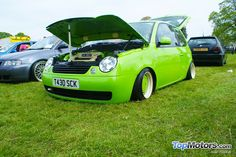 One very green slammed VW Lupo at All Types VW Show 2012