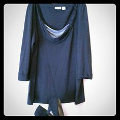 Black, 3/4 sleeved cowl neck shirt Black 3/4 length sleeved shirt, with cowl neck and black and whit stripe underlay Cato Tops Blouses