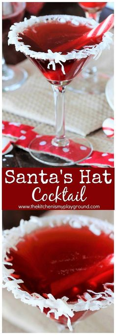 Glass rims: 2 T. 10X 1 t. water 3 T. shredded  coconut Cocktails: 6 oz. cranberry juice 2 oz.  coconut rum 1 oz. grenadine* peppermint sticks or candy canes  PREPARE GLASS RIMS: Place coconut on plate& 10X on a separate  plate. Add water to sugar mix w fork til well combined with no lumps. Dip the rim of martini glass in sugar mix, ip in coconut Immediately dip in coconut Fill a cocktail shaker ¾ full with ice. Add ]juice, coconut rum, and grenadine; shake til chilled & mixed. Strain in…
