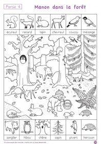 """A la découverte des mots en MS N°4 Un fichier de lecture destiné au élèves de MS, pour découvrir de nouveau mots et les utiliser. Partie 4 (mars - avril) """"Manon dans la forêt"""""""