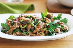 Thai beef salad with nam jim - I like this presentation, but will stick with Import Foods recipehttp://importfood.com/recipes/thaibeefsalad.html