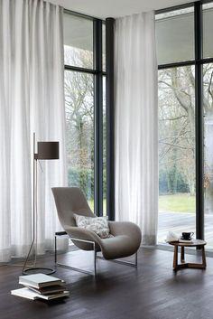 built-in ceiling rail - Furniture - Vorhang Living Room Sliding Doors, Sliding Curtains, Living Room Modern, Living Room Decor, Curtains Living, Living Furniture, Interior Design, Home Decor, Brixton