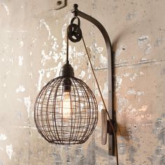 Wire Sphere Wall Lamp with Pulley - Shades of Light