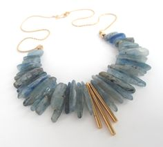 Natural Stone drop beads with metal center accent / Kyanite Statement Necklace / Vintage Gold Dipped Chain / Handmade Clasp. Chunky Jewelry, Stone Jewelry, Statement Jewelry, Crystal Jewelry, Beaded Jewelry, Jewelry Necklaces, Chunky Necklaces, Jewelry Crafts, Jewelry Art