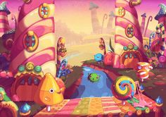 Working at Vostu / Candy Dash illustrations. on Behance Working at Vostu / Candy Dash illustrations. Bg Design, Game Design, Bruno Ferrari, Town Drawing, Candy Background, 3d Wallpaper Iphone, Candy Games, Candy Factory, Halloween Rocks