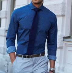 The Seoul cutaway shirt and Navy blue knitted tie - a creative combination of beautiful blues. www.Grandfrank.com