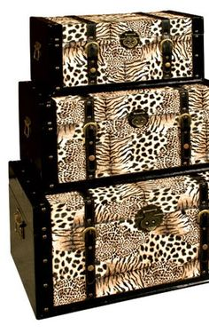 Animal Print Trunks - filled with scrapbooking stuff and photos for the living room decor