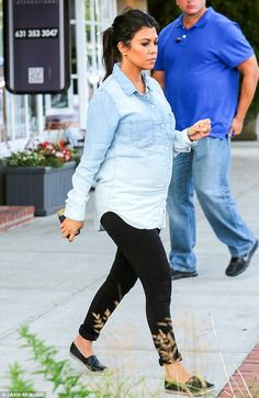 Keeping a low profile: Kourtney Kardashian was also on the east coast with her sister Khlo...