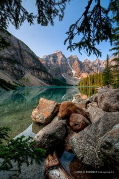 """Peace"" by Carlos D. Ramirez ... Moraine Lake. Rocky Mountains. Banff National Park, Alberta, Canada."