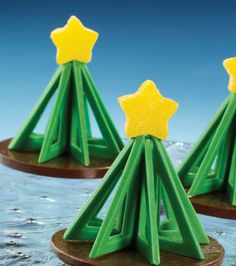 Create Geometric Christmas Trees with Wilton's Dessert Accent Candy Mold and Candy Melts®.