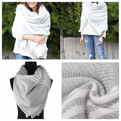 Shades of Gray Blanket Scarf New in Mfc Packaging! Oversized gray & white tartan/blanket scarf/wrap/shawl! Ready to ship! Measures 140CMx140CM Accessories Scarves & Wraps