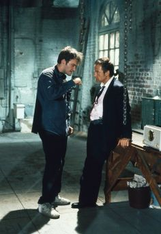 """Quentin Tarantino and Harvey Keitel on the set of """"Reservoir Dogs"""""""